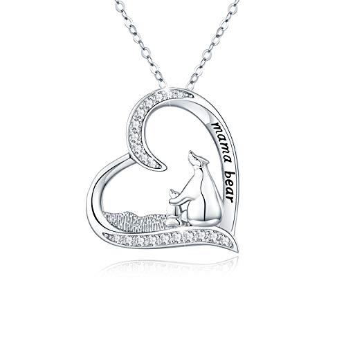Bär Kette Damen Halskette 925 Sterling Silber Cute Tier Liebe Herz Anhänger Halskette Frauen Geschenke für Mutter Tochter