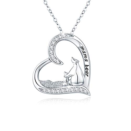 Polar Bear Necklace for Women 925 Sterling Silver Mother and Child Cute Animal Pendant Necklace Birthday Mother's Day Gifts for Girl Mum Daughter (Heart)