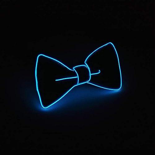 Suncentech Cravates LED Réglable Cravates Lumineux, Fantaisie Décorations de fête LED Noeud Papillon (Bleu foncé)