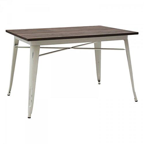 Table design moderne rectangulaire en métal plateau en bois