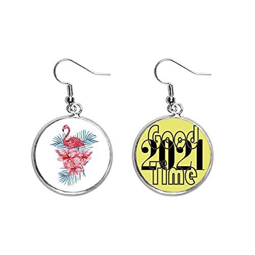 Pendientes de símbolo de la hoja de flamenco, pendientes de oreja joyería 2021 buena suerte