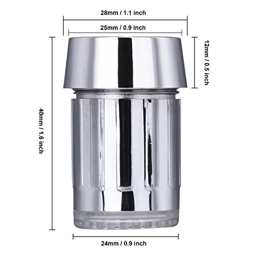 SHABEI LED Wasserhahn Temperatur,Glow Wasser Stream Mini Wasser Powered Temperatur Sensor 3 Farben ändern LED Wasserhahn Licht - 3