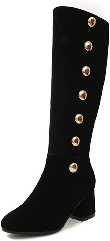 GIY Women's Knee High Riding Boots Waterproof Side Zip Square Toe Faux Combat Wide Calf Low Heel Winter Snow Boots