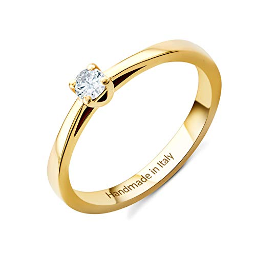 Orovi Damen Diamant Ring Gelbgold, Verlobungsring 14 Karat (585) Gold und Diamant Brillanten 0.1 Ct, Solitärring Ring Handgemacht in Italien