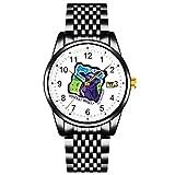 Schwarze ultradünne minimalistische wasserdichte Uhr Sie Essen, was gehen Vegetarische Armbanduhren mit Dattelmetallarmband