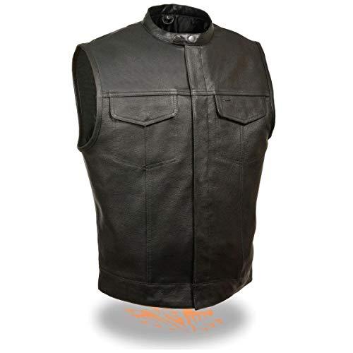Milwaukee Leather LKM3720 Men's Snap Collar Concealed Black Leather Vest - 7X-Large