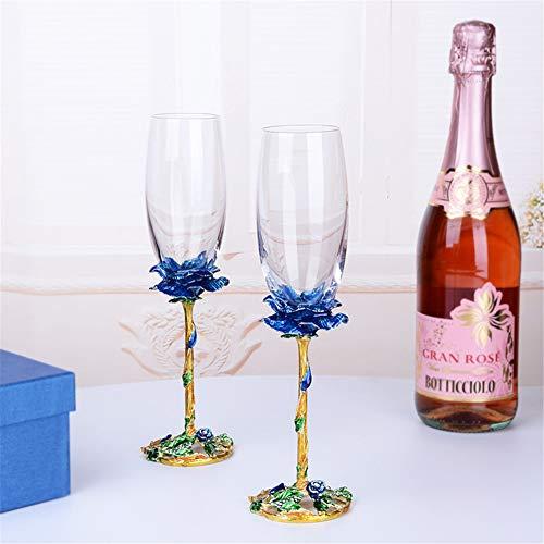 NAXIAOTIAO Rose a Mano Smalto Artigianale di Cristallo Vino Rosso Bicchieri Set di 2 in Gift Box Anniversario e Articoli da Regalo di Nozze,Blu