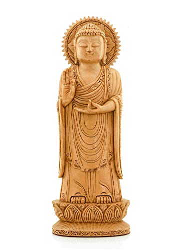 CKHandicrafts Buddha Sculpture Handmade Lord Buddha Standing Posture Fine Carved Round Wooden 12 Inch Statue