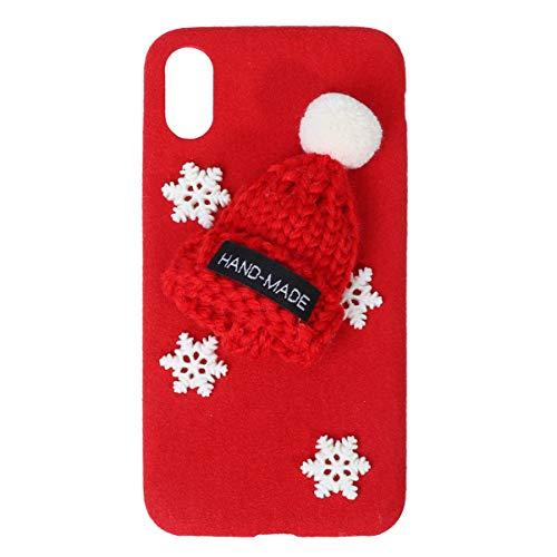 UKCOCO étui de téléphone en Peluche créatif Mignon noël thème Couverture de téléphone Anti-Goutte et Coque de téléphone Antichoc Compatible pour iphone XR (Rouge)