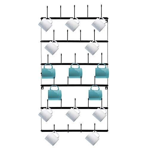Sorbus Mug Rack Cup Holder  Wall Mounted Home Storage Mug Hooks with 6Tier Display Organizer for Coffee Mugs Tea Cups Mason Jars and More – Holds 27 Mugs – Black Metal Large