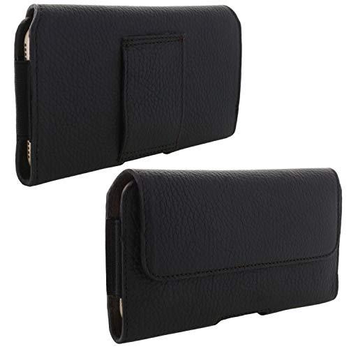 XiRRiX Echt Leder Handy Tasche 2.4 5XL Gürteltasche passend für Samsung Galaxy A70 A71 A80 A90 / Note 8 9 10+ / Huawei Mate 20 Lite - schwarz