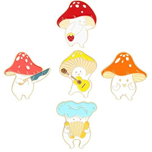 EXCEART 5 Piezas Broche de Seta Pin Esmalte Pin Broches Linda Insignia de Solapa de Seta Planta de Dibujos Animados Esmalte Pin Set para Mochila Paños Sombreros Coloridos