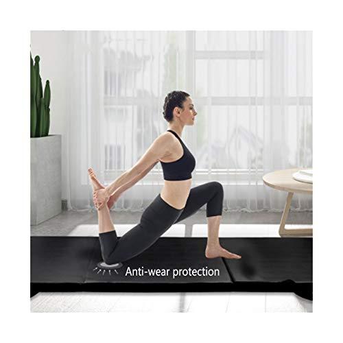 LXHONG Estera De Gimnasia, Almohadilla De Pilates Antideslizante con Asas Alfombra De Gimnasio PE De 4 Cm De Espesor para Yoga Tumbling Cámping PU 2 Tamaños (Color : Black, Size : 61X183X4CM)