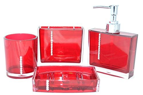 shine 4 Sets Acryl Badezimmer Zubehör Set Diamant besetzt Dekoration Set … (Rot, Diamant)