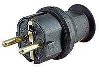 Schutzkontakt-Stecker mit Knickschutz, bruchfest zentrale Einführung IP 44 = Schutz gegen Spritzwasser Stecker-Abmessungen ohne Steckerstift 56 mm Länge und 42 mm Durchmesser