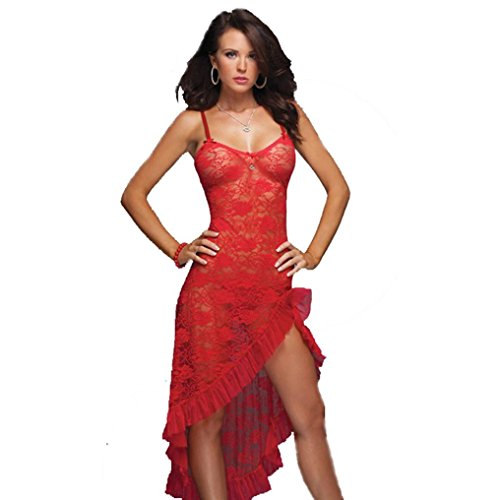 TAORE Women's Lingerie Womens Sexy Teddy Lace-up sheer Halter Lingerie One Piece Jumpsuit + G-String (L, Red)