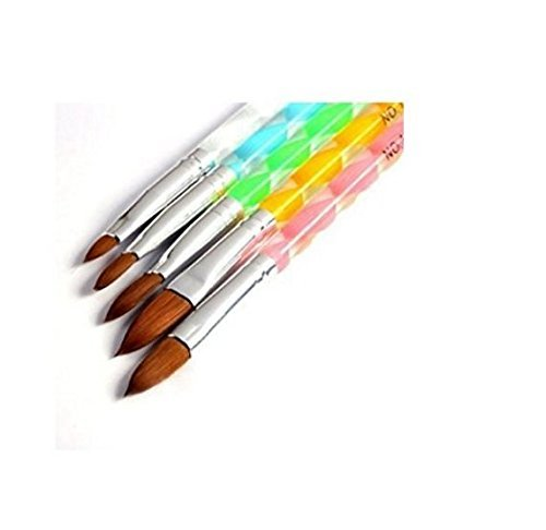 NYKKOLA 5pcs Acrylic Nail Art UV Gel Carving Pen Brush Liquid Powder DIY No. 4/6/8/10/12?Random color?
