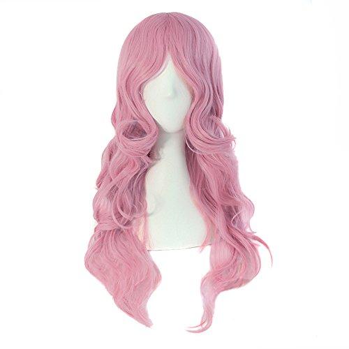 MapofBeauty 60cm/ 24 Pouce Longue Bouclé Femmes Bouclé Perruques (Rose)