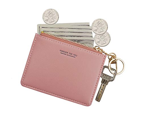 Small Wallets for Women Slim Leather Card Case Holder Minimalist Card Travel Thin Purse with Keychain (Pink)
