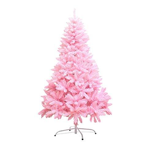 ZMDZA Árbol de Navidad Artificial clásico de Navidad árbol de Pino con el Soporte del Metal Unlit Rosa, decoración casera Fiesta de Navidad árbol de Navidad Artificial (Rosa) (Size : 150cm)