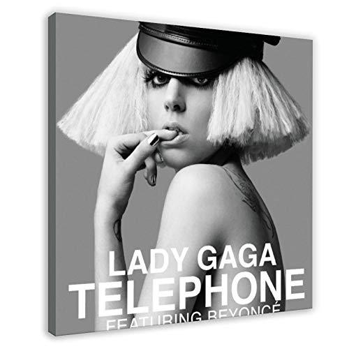 Couverture d'album téléphonique American Singer Lady Gaga sur toile pour décoration de chambre à coucher ou de bureau 60 × 60 cm Cadre Style 1
