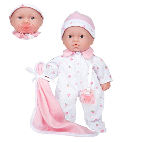 Caucasian 11-inch Small Soft Body Baby Doll | JC Toys - La Baby | Washable |Removable Pink Outfit w/ Hat & Blanket | For Children 12 Months +