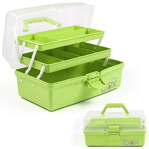12in Three-Layer Multipurpose Storage Box Organizer Folding Tool Box / Art & Crafts Case / Sewing Supplies Organizer / Medicine Box / Family First Aid Box with 2 Trays (Green))