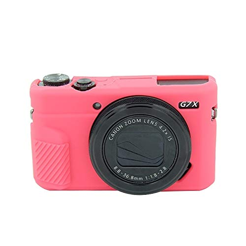 La Caja del Filtro de la cámara Suave de Silicona Protectora for Canon EOS G7 X Mark II Movoo (Color : Rose Red)