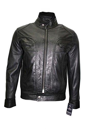 Smart Range Herren Alf Lässige Jacke Biker Stil Schwarz Motorradmotor Radfahrer Cruiser Klassische Weich Echte Lamm Fell Lederjacke (L)