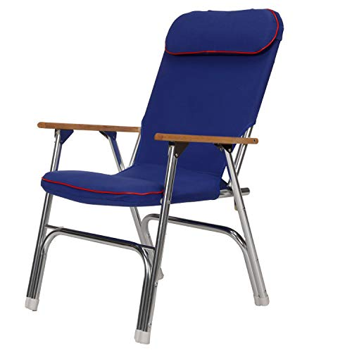 Seachoice 78511 High-Back Canvas Folding Chair – Blue with Red Trim – Folds for Easy Storage