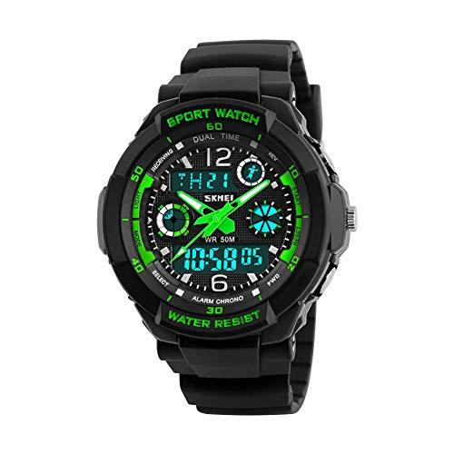 SKMEI Wasserdicht Multifunktions-Digitalwider Schock Militärsport Uhr, grün