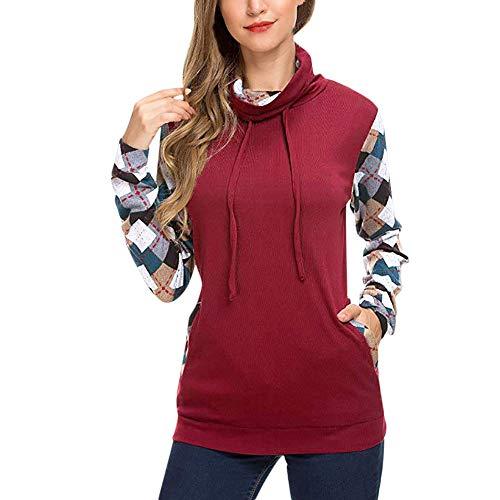 Dorical Rollkragenpullover Damen Schwarz Rot Gitter Patchwork Sweatshirt Gestreift Dünne Pullover Hochwertige Klassischer Elegante Kleidung für Frauen Günstige Kaufen Online Sale