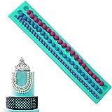 Qpower - Vassoio per stampo di file di perline in silicone per decorazioni con pasta di zucchero o cioccolato, in vari colori