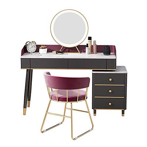 AMY-XCQ Schminktisch Aufbewahrungsschrank Eins Mit Spiegelhocker Marmor Massivholz Schlafzimmermöbel Einfach Und Leicht Luxus-Stil,100CM