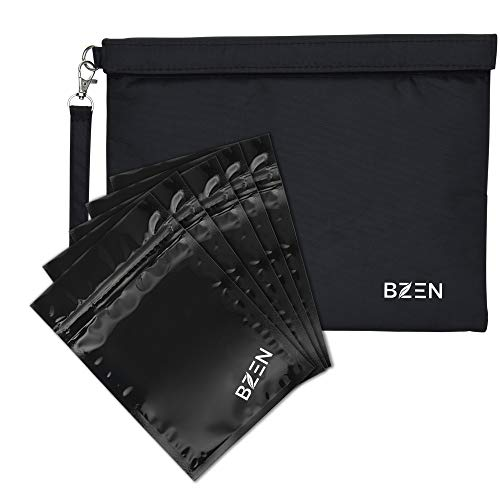 Smell proof bag borsa a prova di odore by Bzen pouch container 12x9 inches + 5 Plastic RESEALABLE bags for Herbs, Spices, Tea, Cheese Activated Carbon Lining, Heavy Duty, Detachable Handle