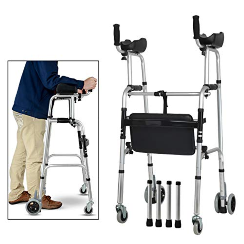 FKDEWALKER Aluminium Folding Walking Frame,Walking Mobility Aid,Wheeled Walker With Seat and Arm Rest,Lower limb trainer
