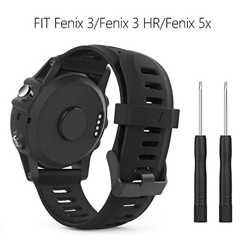 BDLXIN-UK Garmin Fenix 3 Armband, Silikon Sportarmband Uhr Armband Ersatzarmband Uhrenarmband mit Werkzeug für Garmin Fenix 3 / Fenix 3 HR/Fenix 5X GPS Smart Watch