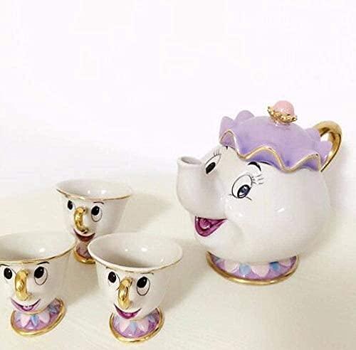 sahadsbv Tetera de té esmaltada Juego de té de la Bella y la Bestia de Dibujos Animados Mrs Potts Tetera Chip Cup Sugar Bowl Juego de ollas Tetera de café cumpleaños