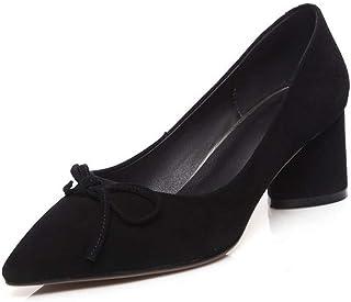 BalaMasa Womens Solid Nubuck Travel Urethane Pumps Shoes APL11007