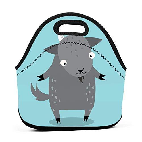 MaoMaoYongHui Fiambreras para niños: lindas bolsas de almuerzo de cabra de dibujos animados para niñas Fiambrera para adultos Pequeñas mujeres Almuerzo Bolsa de comida Totalizadores para viajes de