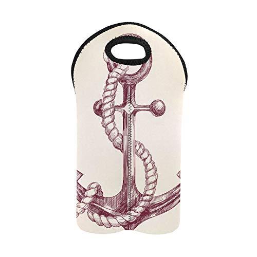 Wein Strandtasche Art Anchor Icon Symbolische Wein Einkaufstasche 2 Flasche Doppelflaschenträger Weinträger und Beutel Dicker Neopren Weinflaschenhalter hält Flaschen geschützt
