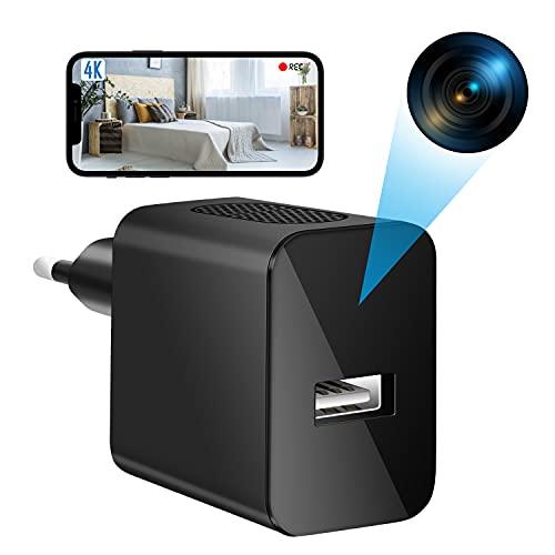 Mini Telecamere Nascosta, 4K Microcamere Spia Nascosta Professionali Wifi Portatile USB Telecamere con Piccole Videocamera di Sorveglianza Senza Fili Rilevatore di Movimento Spy Camera (2.4G Wifi)