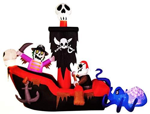 Gemmy Projection Kalediscope Skeleton Pirate Ship Halloween Inflatable