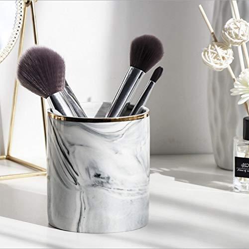FScl Een 2PCS Ethereal Marble Pattern make-up kwast Ceramic opslag Emmer Wenkbrauwpotlood Bus sieraden opbergdoos (Advanced grijs) (Color : Advanced Gray)