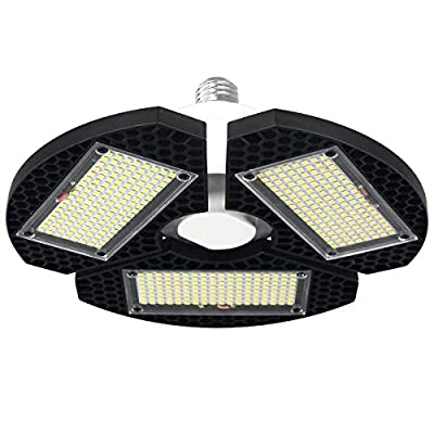 LED Garage Lights, 7500LM Super Bright Garage Ceiling LED Light with 3 Adjustable Panels, 6000K Deformable LED Shop… - ❤️ Triple Glow Led Garage Lights: This deformable garage light with 3 adjustable panels, each led panels can be adjusted from 0°to 90°according to your needs, and the maximum coverage angle of the workshop light can reach 360°. ❤️ 7500LM Garage Light & Super Bright: The LED garage lights equipped with 288 PCS top quality diodes, 7500LM pure white color output, bring you more bright than common led lights, and save 85% energy. ❤️ E26 Base Screw in Garage Lights Ceiling: The led shop lights can be install with a E26 base, just screw the garage light as a bulb, No Tools Required, no wiring required. Great choice to light for garage, corridor, workshop, barn, basement, office, stadium, etc. - kitchen-dining-room-decor, kitchen-dining-room, chandeliers-lighting - 41So5X1nbOL. SS400  -