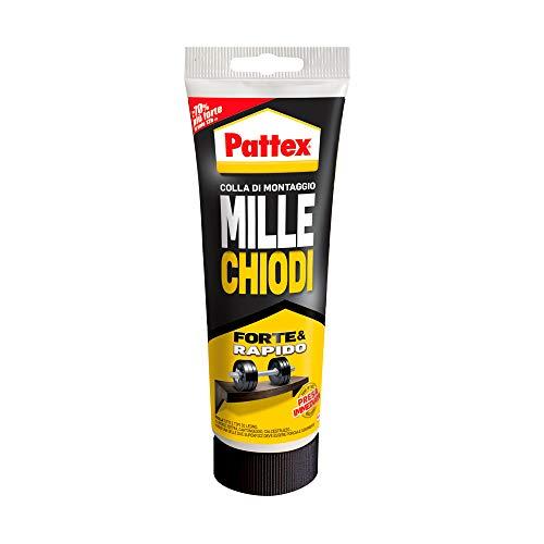 Pattex Millechiodi Forte & Rapido, adesivo di montaggio extra forte che sostituisce viti e fori al muro, adesivo bianco con effetto ventosa, 1x250g tubo