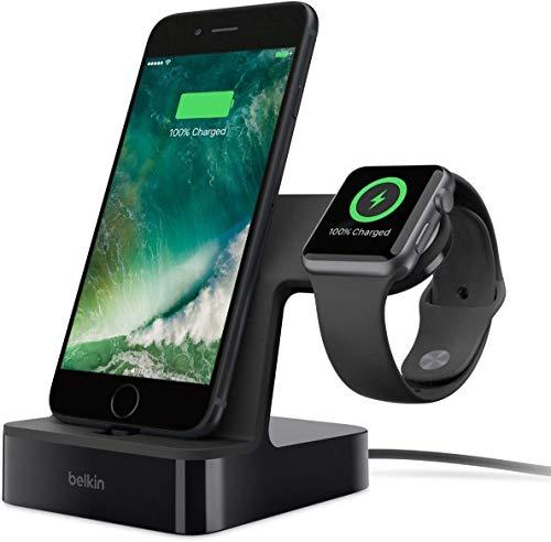 Belkin PowerHouse - Base de Carga para Apple Watch y iPhone (Estación Dock de Carga para iPhone XS, XS Max, XR, X, 8/8 Plus y Otros, Apple Watch Series 4, 3, 2, 1) versión antigua