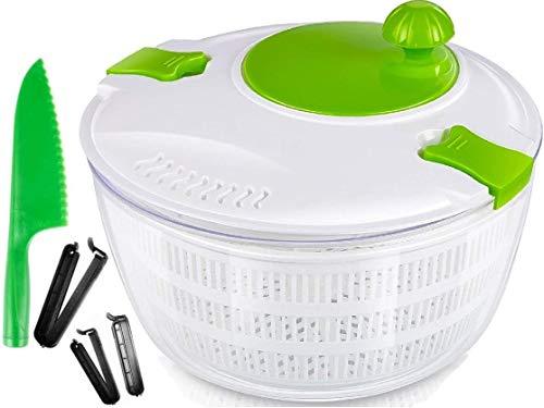 OLIVIA & AIDEN Salad Spinner Set - Includes Large Salad Spinner With Colander and Dishwasher Safe Bowl, Lettuce Knife, and 3 Airtight Bag Clips - Salad Prep Set   4.5 Quart