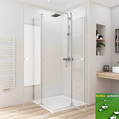 Duschkabine Eckeinstieg 90x120cm Duschabtrennung Duschtür Schwingtür Pendeltür Beschlag flächenbündig, Duschkabinen 8mm ESG Sicherheitsglas mit Nano-Beschichtung Höhe 190cm