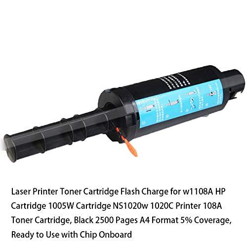 Laserdrucker Tonerkartusche Blitzladung für w1108A HP Kartusche 1005W Kartusche NS1020w 1020C Drucker 108A Tonerkartusche, schwarz 2500 Seiten A4 Format 5% Abdeckung, gebrauchsfertig mit Chip Onboard